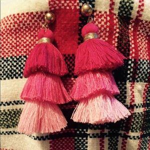 Cute Red + Pink Tassel Earrings 💕